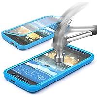 HTC One M9 Hülle Original UrCover® inkl. Displayschutz Touch-Case rundum Schutz Tasche [DEUTSCHER FACHHANDEL] Handy Cover Schale Etui Full View-Case Hell Blau