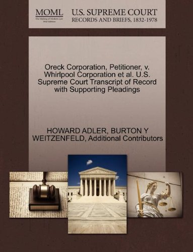 oreck-corporation-petitioner-v-whirlpool-corporation-et-al-us-supreme-court-transcript-of-record-wit