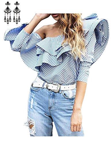 MODETREND Damen Langarmshirt Schulterfrei Volants Gestreift Sommer Shirt  Blusen Oberteil Tops Tshirt Bildfarbe