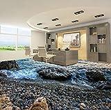 Yosot Benutzerdefinierte Strand Stein Wellen 3D Wohnzimmer Badezimmer Schlafzimmer Halle Selbstklebende 3D Bodenbelag Wandbild Tapete-450Cmx300Cm