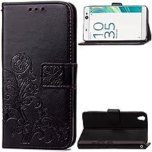 Happon Funda Sony Xperia C6 [Funda de Piel] [Soporte Funciones] [Portatarjetas