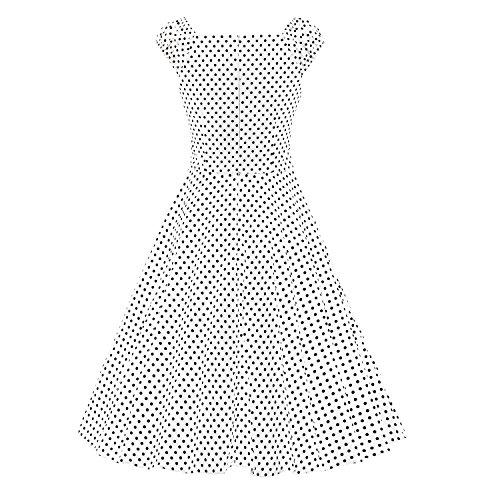 iLover 50s Rockabilly cru Audrey balancer robe de cocktail grande taille E062-BDwhite