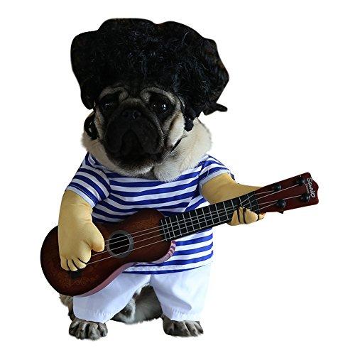 Kostüm Präsentieren - Carter Ken Fashion Cute Funny Dog Guitar Player Kostüm Dress Up Party Halloween Haustier Kleidung Kleidung