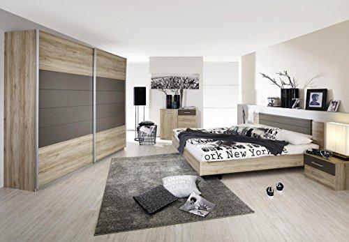 Rauch Bett 180×200 mit Nachttischen Eiche Sanremo hell, Absetzungen Lavagrau, Stellmaß BxHxL 285x85x206 cm
