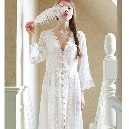 YQZXKL Bodystocking Lange Weiße Nachthemd Frauen Stimmung Spitze Nachthemd Prinzessin Damen Nachtwäsche Weibliche Nachtwäsche Hause Kleidung 2XL,Weiß,L