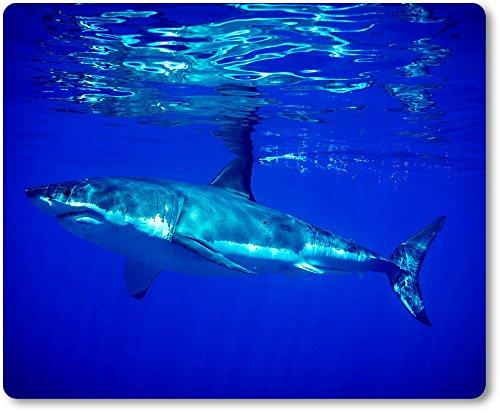 aus Textil mit Rückseite aus Kautschuk rutschfest für alle Maustypen Motiv: Weißer Hai schwimmend nahe der Wasseroberfläche [10] (Schwimmende Hai)