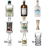Ultimatives Gin Tasting Set | Komplett mit Six Ravens - Monkey 47 - Sul - Iris - Lucky HANS Gin | 24x Tonic Wasser | 6x Gläsern | 1x Jigger