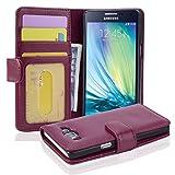 Cadorabo Hülle für Samsung Galaxy A5 2015 (5) - Hülle in Bordeaux LILA – Handyhülle mit 3 Kartenfächern - Case Cover Schutzhülle Etui Tasche Book Klapp Style