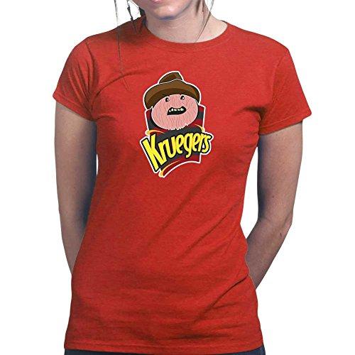 Womens Freddy Krueger Chips Halloween Mask Ladies T Shirt (Tee, Top) Red