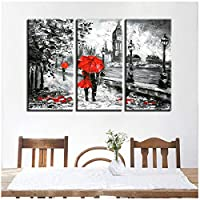 Canvas Print Picture-3 Pcs Red Umbrella Lover Painting-London Street Rain View Poster Retro-Home Decor-Wall Art of Canvas Print(no Frame 40x80cmx3pcs)