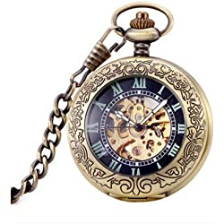 Antique Hollow Case Retro Pendant Luminous Hands Scale Roman Numerals Dial Magnifying Cover Automatic Mechanical Pocket Watch with Gift Box and Chain Brown