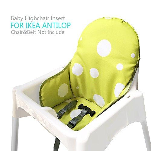 Ikea Antilop Hochstuhl Sitzbezüge & Kissen von ZARPMA, Waschbar Faltbarer Babyhochstuhl Bezug Ikea Kinder Sitz Covers Stuhlkissen (Grün gelb)