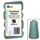 4 Stück Spulen Overlock - Nähgarn, hell - blau, a. 2743 m, NE 40/2, 100% Polyester, Nähfaden, Nähmaschinen Garn, 2943