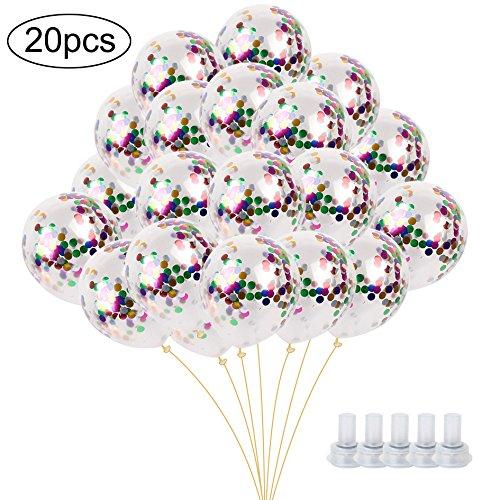 InnoBase 20 Stück Konfetti Luftballons Latex Clear Transparente Confetti Balloons Luftballons mit Bunt Geformte Punkte Folie Konfetti für Halloween, Weihnachten, Geburtstagsfeiern, Hochzeitsfeiern, Zeremonie, Valentinstag, Festival Dekoration (12 Zoll , Mundstück Enthalten)