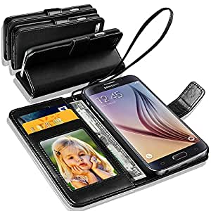 N+ India Samsung Galaxy J2 (2016) Rich Leather Stand Wallet Flip Book Pouch Soft Phone Bag Antique Leather Case Black