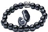 Très beau Bracelet Hématite - 22 perles 8 mm et Bouddha porte bonheur- Offert pour la relaxation 2 pierres Hématite
