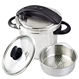 Culina® Edelstahl-Schnellkochtopf, 5.6 Liter, Einhandbedienung, inkl. Dampfkorb