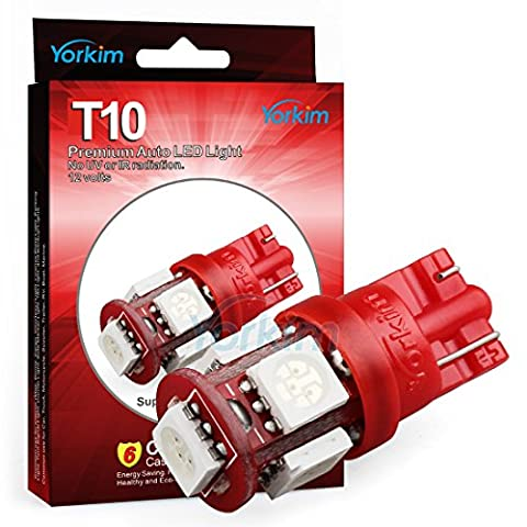 194 LED Light bulb, Yorkim 2015 Newest, 5th Generation, Interior Lights for W5W 194 168 2825 T10 Wedge 5-smd 5050, Replacement and Reverse T10 White Bulbs(Pack of 10)-Red
