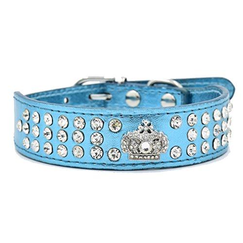Generisches Hundehalsband Halsbänder aus Bling PU Leder,mit Strass Krone und Diamante Stein,Blau Lila Pink Rot Wählbar, XS S für kleine Hunde wie Chihuahua Spitz, Blau S