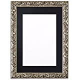 """Mounted Antique Cushion Ornate Swept Photo frame/picture frame/poster frame with bespoke Mount - With a High Clarity Styrene Shatterproof Perspex Sheet - Moulding measures 26mm wide and 23mm deep - Silver Frame with Black Mount- 10""""x8"""" for 8''x6"""" pictures"""