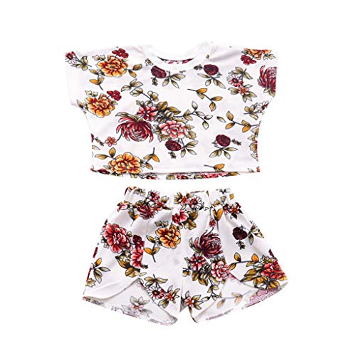 Sequined Floral Top (Mitlfuny Kleidung Set Kleid Damen Sommer Elegant Baby Mädchen Outfits & Set,Kleinkind Baby Kinder Mädchen Dot Floral Tops Print Shorts Set Casual Sport Outfits)