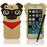 iPhone 5 Funda, iPhone 5S Funda, iPhone 5C Funda, Suave Silicona Gel Protección premium Case Cover Bumper 3D Cucciolo Modelado Un perro con una pajarita roja + Bonita Stylus Pen