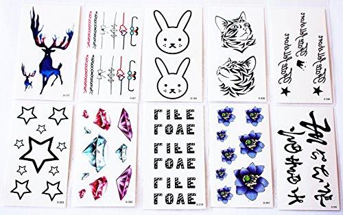 wolga-kreativ-tattoo-set-10-bogen-wie-hauptbild-reh-blume-katze-schleife-love-diamant-hase-krone-ste