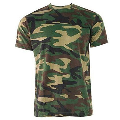 Herren Game Wald Tarnfarbe Militär Armee Jagd Fischen T-shirt - Grünen, Browns, M -