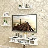 ACZZ Floating Shelf Bedroom Living Room Wall Shelf Tv Stand Dvd Player Cd Storage Shelf Display Shelf White,90CM