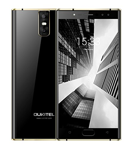OUKITEL K3 - Android 7.0 Smartphone ohne Vertrag 4G Phablet 4GB RAM 64GB ROM 6000mAh Akku 2MP+16MP 4 Kameras 5.5 Zoll FHD MTK6750T Octa Core 1.5Ghz Fingerabdruck Fast Charge - Schwarz