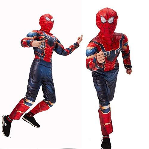 Spiderman Muskel Kostüm Kinder - Kinder Spider Man Muskel Kleidung Spiderman Overall 3D Print Spandex Lycra Body Spiderman Cosplay Halloween Kostüm,130cm