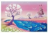Kinderteppich Märchenschloss | Kinderzimmerteppich rosa pink für die kleine Prinzessin, Größe: 100x160 cm