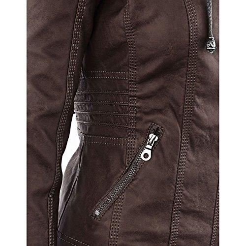 Femme Manteaux Hiver Faux Leather Jacket Veste à fermeture éclair Détachable Capuche Manteau Moto Meedot Café
