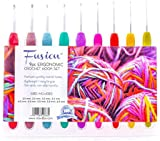 FUSION - Set of 9 High Quality Aluminium Crochet Hooks Needles with Colourful Soft Rubber Grip Handles - in sizes 2mm, 2.5mm, 3mm, 3.5mm, 4mm, 4.5mm, 5, 5.5, 6mm - comes with a handy organizer and a LIFETIME WARRANTY :)