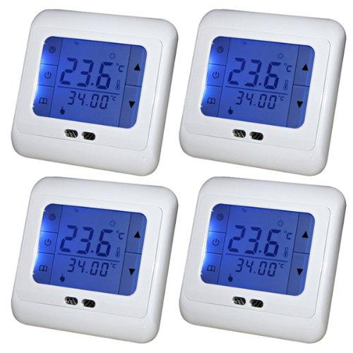 Preisvergleich Produktbild Kaleep 4x LCD Blau Touchscreen Digital Programmierbar Thermostat Wochenprogramm Fußbodenheizung Raumthermostat