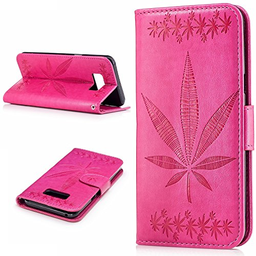 Für Samsung Galaxy S8 Plus Case Cover, Premium Soft TPU / PU Leder geprägt Ahorn Muster Brieftasche Fall mit Halter & Cash Card Slots & Lanyard ( Color : Rose ) Rose