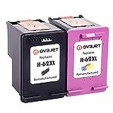 Novajet Ersatz für HP 62XL 62 XL Druckerpatronen Kompatibel für HP Officejet 5740 5742 5744 5745 5746 e-All-in-One Officejet 8040 8045 e-All-in-One ENVY 7640 7645 8000 8005 5640 5642 5643 5644 5646 5660 5665 e-All-in-One Drucker,Schwarz Farbe
