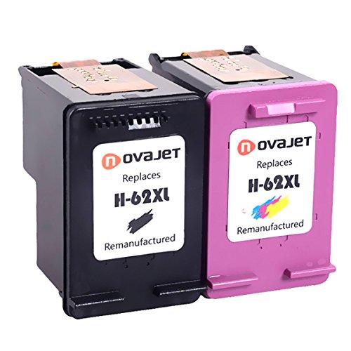 Novajet 2 Paquete Cartuchos de Tinta Remanufacturados Reemplazar para HP 62 62XL (1 Negro, 1 tricolor) Compatible para HP OfficeJet 5740 200, HP ENVY 5640 5642 7640 5540 5542 Impresora