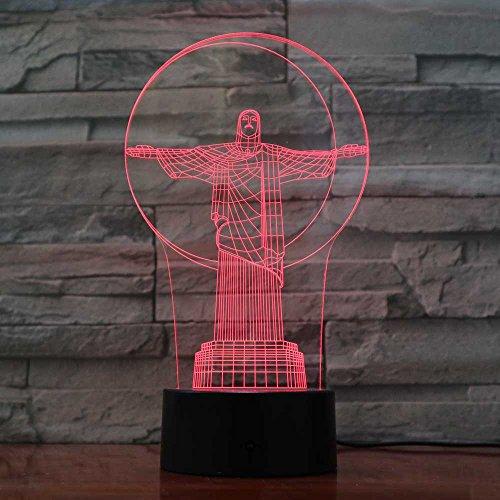 Preisvergleich Produktbild 3D Jesus Optische Illusions-Lampen,  Tolle 7 Farbwechsel Acryl berühren Tabelle Schreibtisch-Nachtlicht mit USB-Kabel für Kinder Schlafzimmer Geburtstagsgeschenke Geschenk