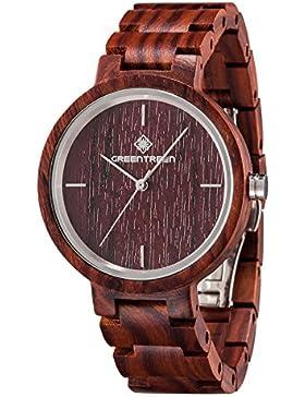 [Gesponsert]Armbanduhren In Sandelholz Rot Holz Uhren Japan Quarz Bewegungs analoge Anzeige mit Geschenkbox Paket