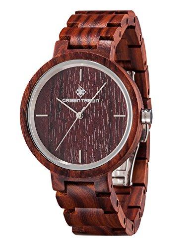 Armbanduhren In Sandelholz Rot Holz Uhren Japan Quarz Bewegungs analoge Anzeige mit Geschenkbox Paket (Holz Anzeigen)