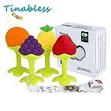 Baby Zahnen, Tinabless 100% medizinisches Soft Silikon BPA Free Teether Spielzeug Geschenk Set Beißring mit Schnuller Clip für Schätzchen, Säugling und Kleinkind (4er Pack)