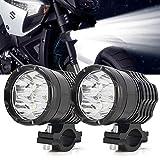 Riflettori da moto U7 Cree Extra LED con occhi angelo bianchi, fendinebbia per moto, faro anteriore per bici LED, anabbaglianti e fasci strobo, 12V 24 V 30 W 3000 LM (40W Fog Light Round)