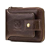 Genuine Leather Change Wallet - Large Capacity ID Window Card Case with Zip Coin Pocket Short Purse