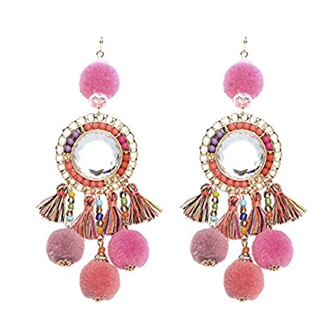 Rosemarie Collections Women's Pink Pom Pom and Tassel Statement Drop Earrings