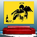"Banksy Homeless Angel BLACK, YELLOW CANVAS Framed Ready To Hang Canvas by whatsonyourwall, Pop Street Wall Art Sizes from 8"" to 40"" 12""x16"""