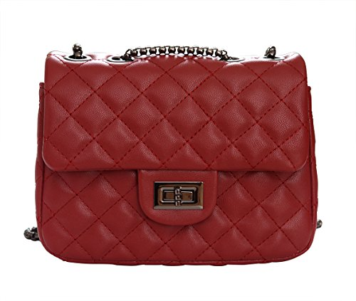 Bag Salon-UK, Borsa a tracolla donna small, Dark Grey (grigio scuro) - L302 Light Red