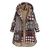 Cappotti Invernali da Donna - Donne Plus Size Giacche da Donna Caldo Outwear Bohemian Floreale Stampa Concappucciata Tasche Vintage Oversize Cappotto(Rosso 6,L)