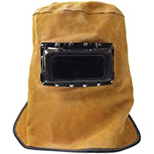Casco de soldadura, soldadores máscara transpirable piel soldador soldadura de molienda capucha máscara facial antipolvo máscara con gafas de llama soldador cabeza tapa de cuello gorro resistente al calor calor protección