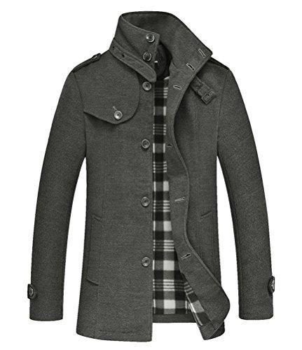 Brinny Hommes Veste épaissi Hiver Parka mince Trench Coat travail Manteau d'hiver Gris